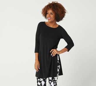 Susan Graver Every Day by Petite Liquid Knit Tunic with Slits
