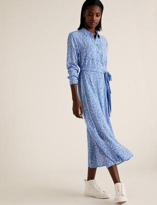 Marks and Spencer Leaf Print Belted Midi Shirt Dress