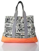 Roxy DVF For White Black Orange Abstract Print Tote Handbag