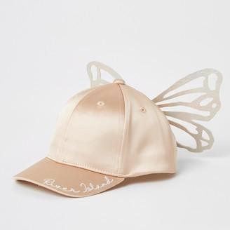 River Island Mini girls Pink butterfly satin cap
