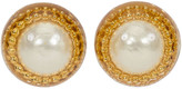 One Kings Lane Vintage 1970s Oversize Chanel Pearl Earrings - Vintage Lux - gold/clear/pearl