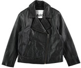 Molo Hazel Leather Moto Jacket, Black, Size 4-14