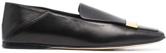 Sergio Rossi Metal-Plaque Leather Loafers