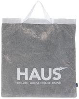 Golden Goose Deluxe Brand Silver Glitter Shopping Handbag