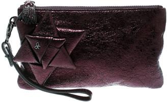 Anya Hindmarch Metallic Purple Scrooge Wristlet Pouch