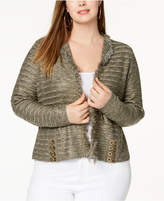 INC International Concepts I.n.c. Plus Size Metallic Lace-Up Cardigan, Created for Macy's