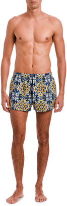 Dolce & Gabbana Men's Majorca Tile-Print Swim Trunks