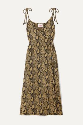 Solid & Striped Stretch Jacquard-knit Wrap Dress - Snake print