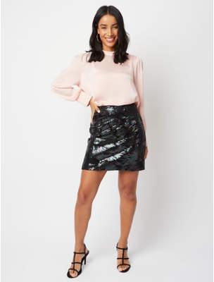 George Black Velour Iridescent Sequin Feather Skirt