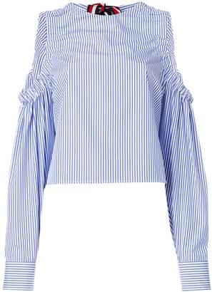 Tommy Hilfiger striped cold shoulder blouse