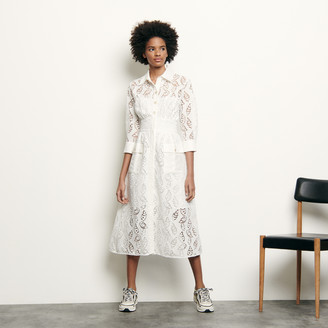 Sandro Long shirt dress in broderie anglaise