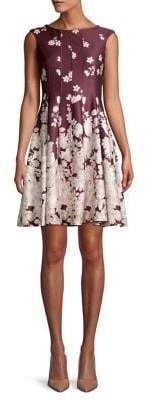 Gabby Skye Floral Pleated Fit-&-Flare Dress
