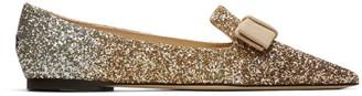 Jimmy Choo Rose Gold Glitter Gala Flats