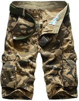 Panegy Men's Bermudas Loose Fit Ripstop Multi Pockets Camouflage Cargo Shorts Tag Size 40 - Khaki