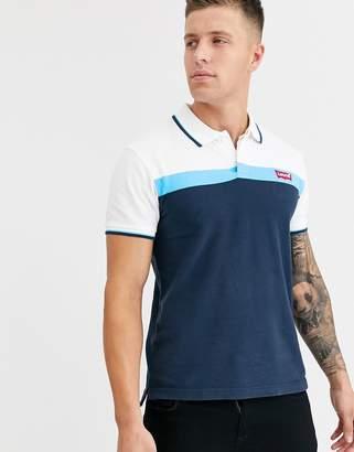 Levi's tipped colourblock logo polo shirt-Blue