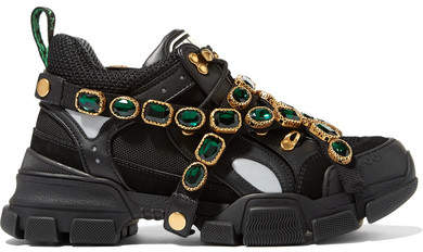 Gucci Flashtrek Embellished Logo-embossed Mesh, Suede And Leather Sneakers - Black