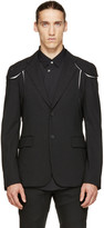 Comme des Garcons Black Pinstriped Cut-Out Blazer