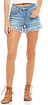 GB Fringe Hem Denim Shorts