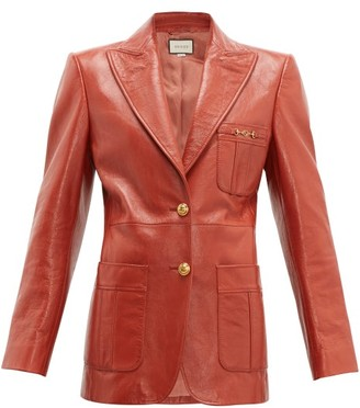 Gucci Peak-lapel Leather Jacket - Orange
