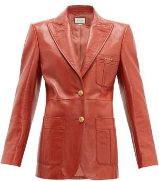 Gucci Peak-lapel Leather Jacket - Womens - Orange