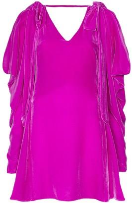 Les Rêveries Bow-Embellished Velvet Mini Dress