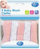 Pack of 5 Soft Baby Wash Cloths Towel Flannel Machine Wash from 0 Months + by First Steps