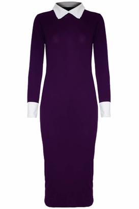 Fashion Star Womens Bodycon Peterpan Collar Midi Dress Navy M/L (UK 12/14)