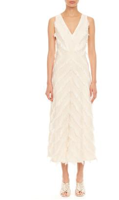 Rebecca Taylor Sleeveless Bias Fringe Dress