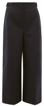 Roksanda Elda Contrast-pocket Cotton-gabardine Trousers - Navy Multi