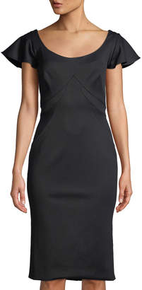 Zac Posen Bandage Jersey Scoop-Neck Sheath Dress