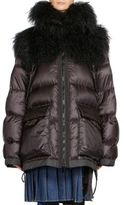 Sacai Shearling & Nylon Down Puffer Coat