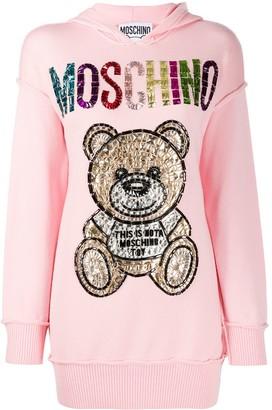 Moschino Rhinestone Logo Teddy Long Hoodie