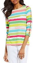 Investments Petites 3/4 Button Sleeve Striped Top