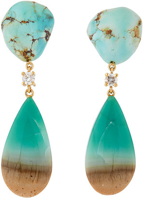 Jan Leslie 18k Bespoke 2-Tier Tribal Luxury Earrings w/ Kazakhstan Turquoise, Blue Petrified Opal & Diamonds