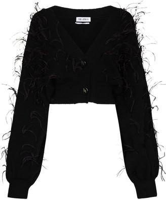 ATTICO Cropped Feather-Embellished Wool Cardigan
