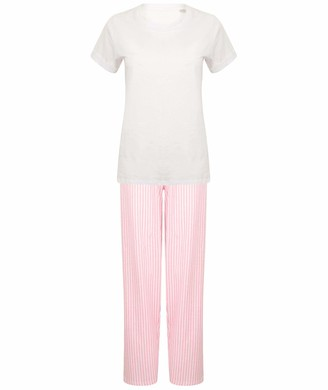 123t Towel City TC053 Women's Long Pant Pyjamas Set (in a Bag) - White/Pink/White Stripe M Blank Plain