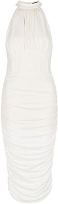 Lavish Alice White Gathered Stretch-jersey Midi Dress