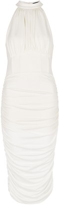 Lavish Alice White gathered stretch-jersey midi dress