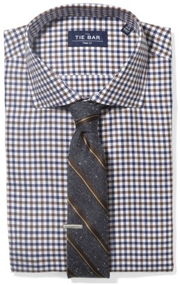 The Tie Bar Navy Multi Tone Gingham Non-Iron Shirt
