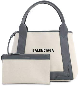 Balenciaga SM NAVY CABAS COTTON CANVAS BAG