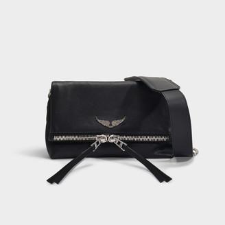 Zadig & Voltaire Rocky Zip Bag In Black Lambskin