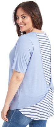 Plus Size 89th & Madison Twist Back Elbow Sleeve Top