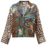La Prestic Ouiston Botanical & Leopard-print Silk-twill Blouse - Womens - Brown Multi