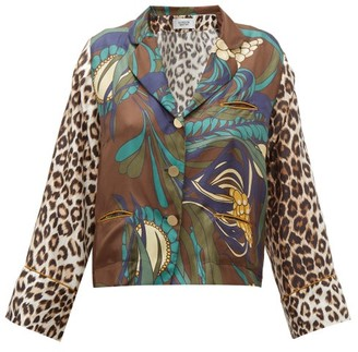 La Prestic Ouiston Botanical & Leopard Print Silk Twill Blouse - Womens - Brown Multi