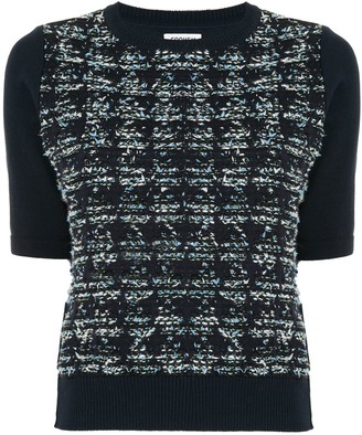 Coohem Houndstooth Tweed Knitted Top