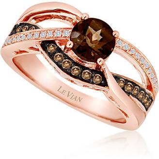 LeVian Le Vian 14K Strawberry Gold 0.82 Ct. Tw. Diamond & Smoky Quartz Ring