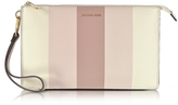 Michael Kors Large Daniela Striped Leather Zip Clutch