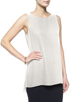 Eileen Fisher Sleeveless Silk Long Shell, Petite