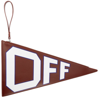 Off-White Burgundy Leather Flag Pouch
