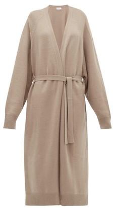 Raey Long Shawl Belted Cashmere Cardigan - Womens - Grey